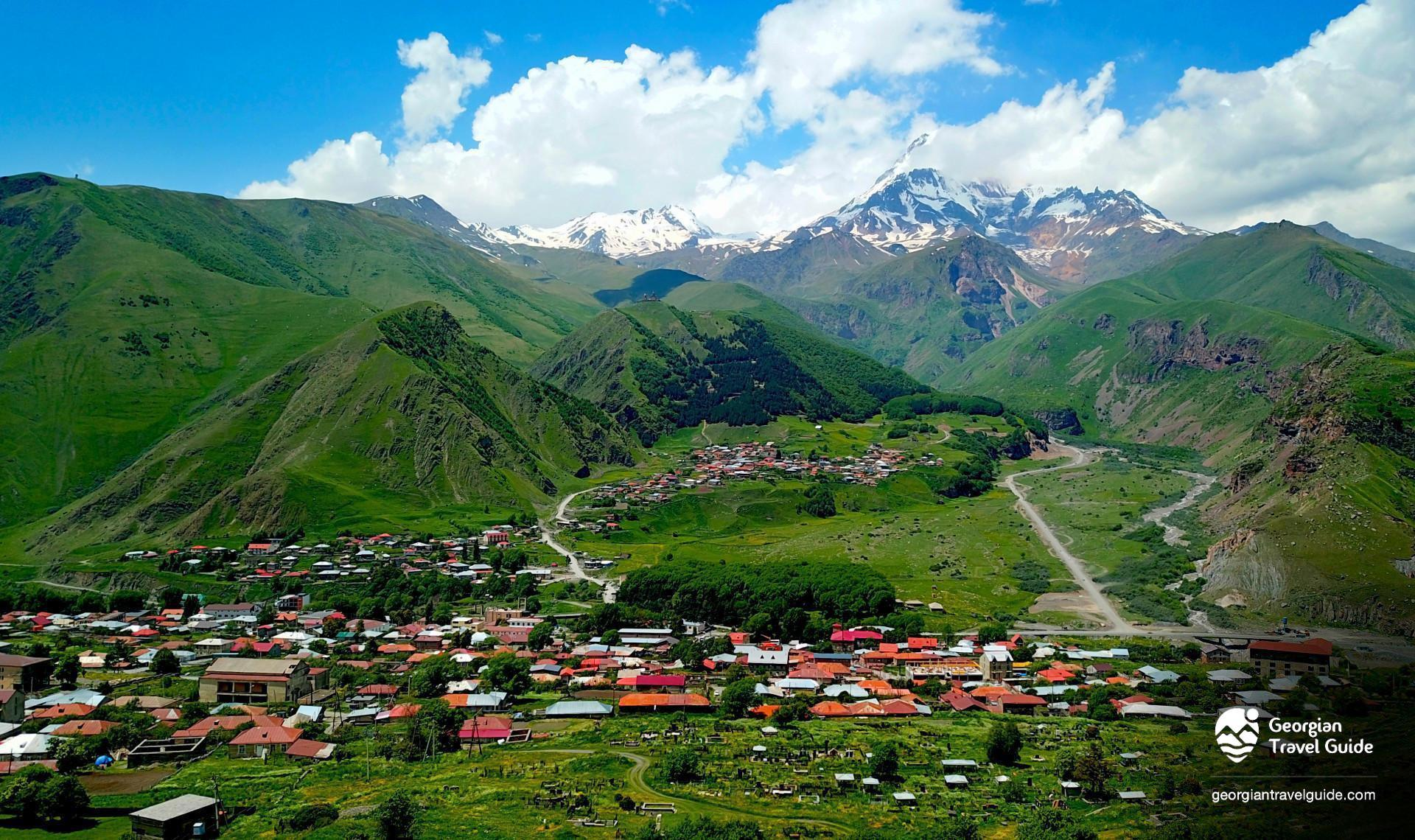 Mount Kazbek view from Kazbegi, Степанцминда Казбеги